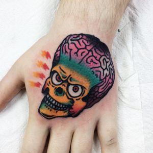 Tattoo by Victor #xvitorebelcox #Victor #alientattoos #MarsAttacks #movietattoo #movie #film #alien #strange #surreal #scifi #funny #ackackack #newschool #handtattoos #lightningbolt