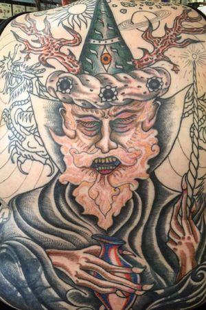 Tattoo by Matt Bivetto #MattBivetto #GreenpointTattoo #color #traditional #surreal #wizard