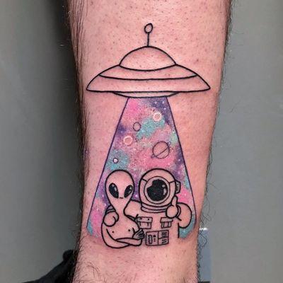 Tattoo by Irene Samsa #IreneSamsa #alientattoos #color #linework #illustrative #watercolor #galaxy #ufo #spaceship #alien #astronaut #space #scifi #abduction #planets #stars
