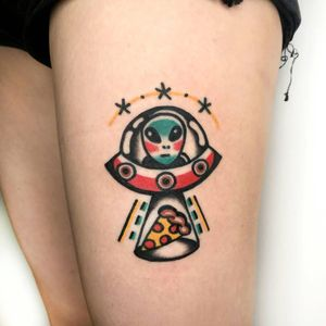 Tattoo by RedLipTattoo #redliptattoo #alientattoos #color #ufo #alien #pizza #scifi #stars #spacetravel #newschool #spaceship #abduction