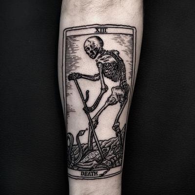 By Ilja Hummel #death #tarotcard #blackink #woodcut #woodcuttattoo