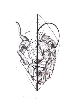 A Geometric Ram, Capricorn and lion. #lion #liontattoo #ram #ramtattoo #Capricorn #capricorntattoo #zodiac #zodiactattoo #geometric #geometrictattoo