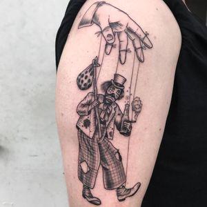 Tattoo by Natia #Natia #swamplost #clowntattoos #illustrative #clown #circus #funny #creepy #hobo #puppet #strings #drunk #alcohol #smoke #cigarette #sadclown