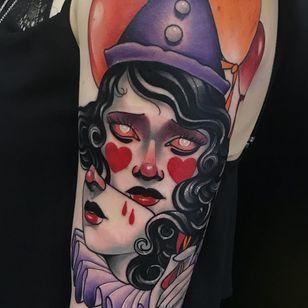 Tattoo by Deborah Cherrys #deboracherrys #color #neotraditional #clown #circus #funny #creepy #circusfreak #freak #heart #blood #portrait #lady #ladyhead