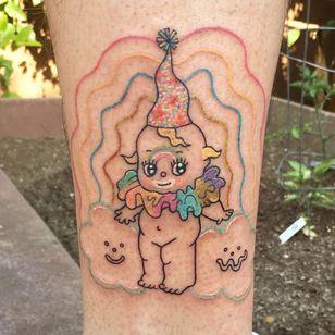 Tattoo by Pina Tattoo #pinatattoo #clowntattoos #color #clown #circus #funny #creepy #circusfreak #kewpie #kewpiedoll #cute #clouds #smile #rainbow #illustrative