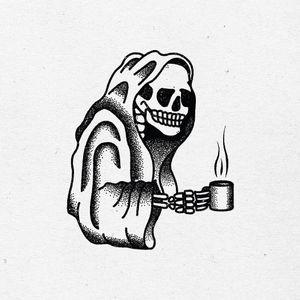 Tattoo flash - black and white, dotwork, skull, skeleton, grim reaper, coffee, tattoo idea, art, drawing, creepy