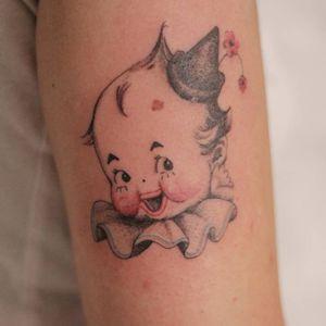 Tattoo by rat666tat #rat666tat #clowntattoos #color #illustrative #clown #circus #funny #creepy #circusfreak #kewpie #kewpiedoll #cute #flower