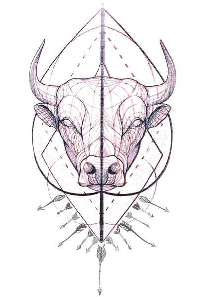 A Geometric Bull and Sagittarius #bull #bulltattoo #Sagittarius #sagitarius #zodiac #zodiactattoo #geometric #geometrictattoo