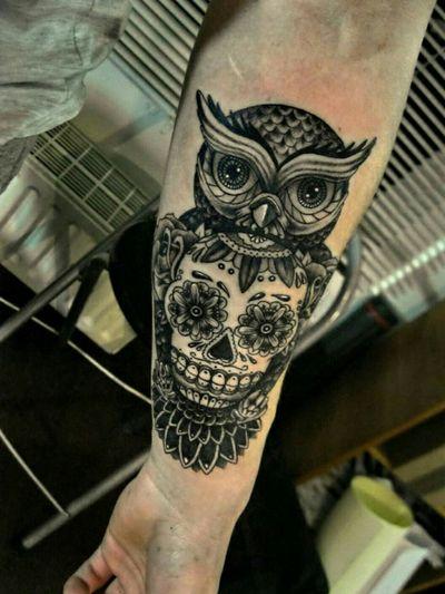 Sugar skull Tattoo With Owl👌 #sugarskull #owl Support Me Guys