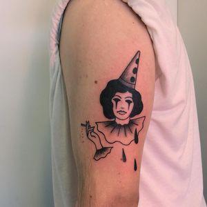Tattoo by Muriel de Mai #MurieldeMai #clowntattoos #illustrative #clown #circus #funny #creepy #smoking #cigarette #sadclown #tears