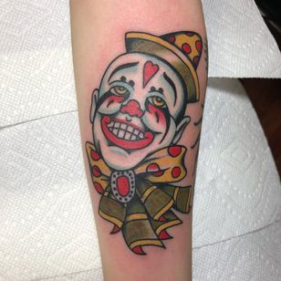 Tattoo by Dave Halsey #DaveHalsey #clowntattoos #color #traditional #clown #circus #funny #creepy #circusfreak #freak #bow #smile #heart