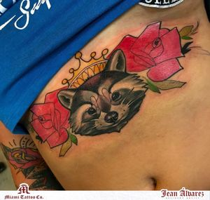 Raccoon by our resident artist Jeantattooart Text or call 305-393-1950 to book your consultations today! Would you like to see more from Jean Alvarez? Comment below! == #miamitattooco