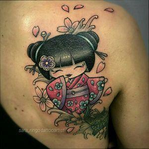 Added a #kokeshi #doll to a #koifish #tattoo #coverup i did a year ago :) Grazie Irene ❤❤❤ #kokeshitattoo #kokeshidoll #sakuratattoo #sakurablossom #cherryblossom #cherryblossoms #japanesetattoo #japanese #japan #colottattoo #girltattoo #cutetattoo #kawaii #koifish #koifishtattoo #kimono #geisha #geishatattoo #tatuaggio #tatuatoriitaliani #tatuatoriitalia #italiachetatua #bologna #castenaso #bolognatattoo #tattoobologna