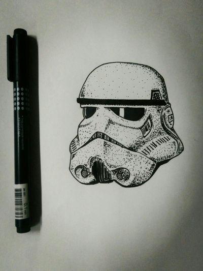 Diseño Stormtrooper. #Dotwork #Puntillismo #Tattoo #Inkvan #linework #Stormtrooper #StarWars