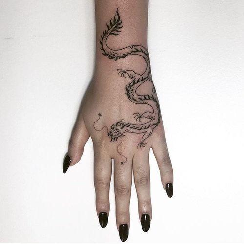 Tattoo by Tati Compton #TatiCompton #dragontattoos #nonelectrictattooing #stickandpoke #handpoke #dragon #mythicalcreature #beast #monster #animal #fairytale #legend #myth