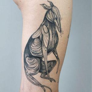 Tattoo by Nomi Chi #NomiChi #blackwork #illustrative #linework #dotwork #greyhound #dog #puppy #petportrait