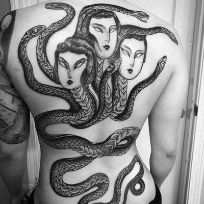 Tattoo by Nomi Chi #NomiChi #blackwork #illustrative #linework #dotwork #snake #serpent #portrait #demon #magic #creature #mythicalcreature #face #ladyhead #darkart #surreal
