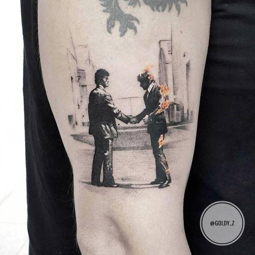 Tattoo by Zlata Kolomoyskaya #ZlataKolomoyskaya #GoldyZ #musictattoos #PinkFloyd #wishyouwerehere #fire #portrait #vinyl #illustrative #music #rockandroll