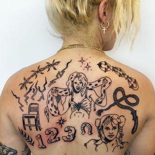 Tattoo by Charline Bataille #CharlineBataille #musictattoos #linework #illustrative #BritneySpears #singer #snake #toxic #barbedwire #chaine #lightningbolt #luckyhorseshoe #horseshoe #chair #whip #stars #portrait #popstar