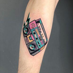 Tattoo by Irene Samsa #irenesamsa #musictattoos #color #newschool #music #stereo #boombox #lightningbolt #80s