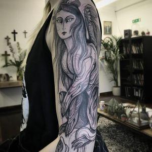 Tattoo by Nomi Chi #NomiChi #blackwork #illustrative #linework #dotwork #harpy #mythicalcreature #myth #wings #feathers #legend #snake #serpent #animal