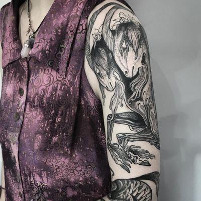 Tattoo by Nomi Chi #NomiChi #blackwork #illustrative #linework #dotwork #goat #capricorn #mountaingoat #sea #animal #zodiac #darkart
