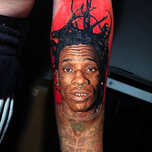 Tattoo by Steve Butcher #SteveButcher #musictattoos #youngthug #rapper #music #portrait #realism #realistic #hyperrealism