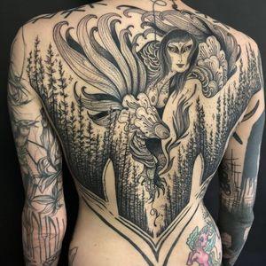 Tattoo by Nomi Chi and Noel'le Longhaul #NomiChi #NoelleLonghaul #blackwork #illustrative #linework #dotwork #collaboration #forest #door #harpy #wings #feathers #darkart #stars