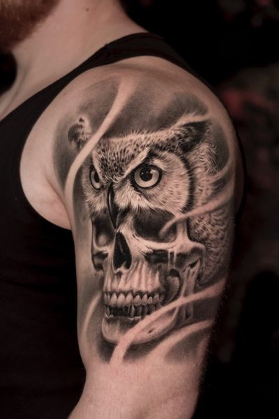 Fully healed. #owl #skull #inked