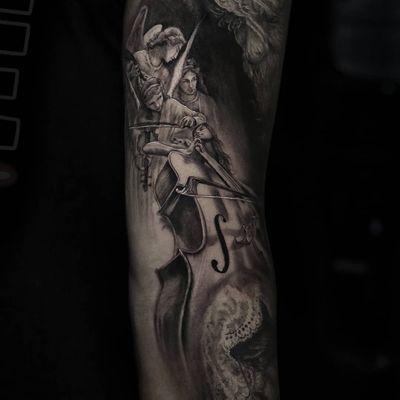 Tattoo by Stefano Alcantara #StefanoAlcantara #musictattoos #blackandgrey #realism #realistic #cello #violin #angels #wings #music #classicalmusic #classical #lace