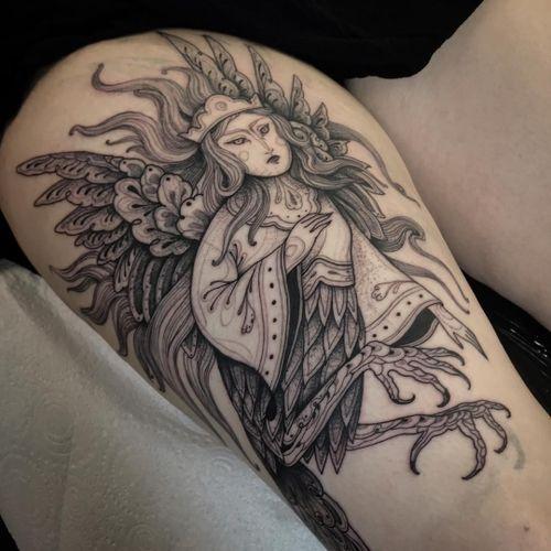 Tattoo by Nomi Chi #NomiChi #blackwork #illustrative #linework #dotwork #harpy #bird #wings #folk #pattern #mythicalcreature #feathers #surreal