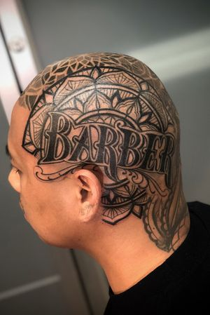 #barber #headtattoo #dotwork #blackwork #geometric #ornamental #mandala #geometrictattoo