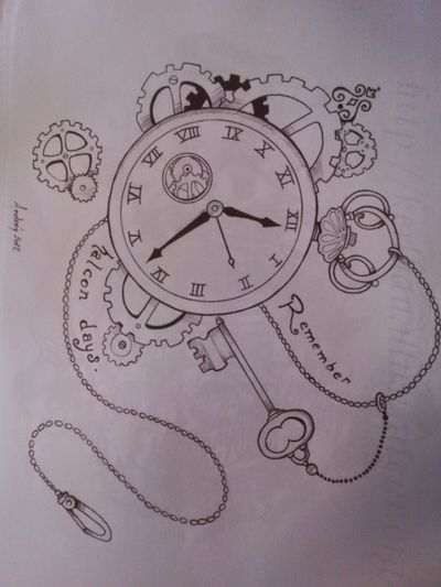 #time #draw #horloge #remember #ideatattoo #clef #heure #dessin