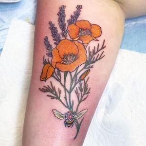 Tattoo by Miss Juliet #MissJuliet #flowertattoos #flower #floral #buttercups #lavender #bee #heart #insect #leaves #nature