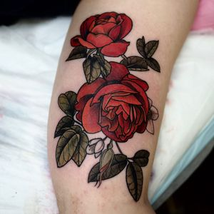 Tattoo by Sophia Baughan #sophiabaughan #flowertattoos #color #rose #illustrative #neotraditional #flowers #floral #rosebud #leaves #nature