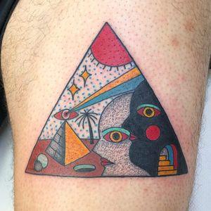 Tattoo by Teide #Teide #favoritetattoos #pyramid #portrait #surreal #shapes #thirdeye #eyes #sun #sky #palmtree #desert
