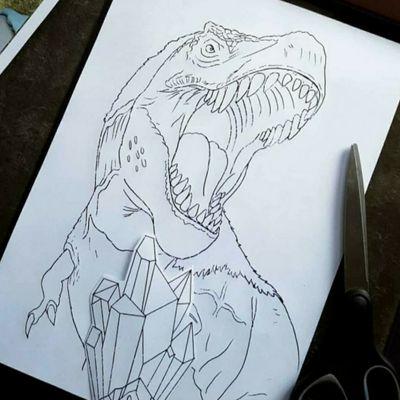 #inprogress #dinosaur #neotraditional #trex #likethatshit #tattooart