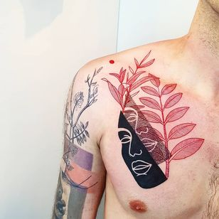 Tattoo by Matteo Nangeroni #MatteoNangeroni #favoritetattoos #blackfill #fotwork #linework #popart #graphic #face #portrait #leaves #nature