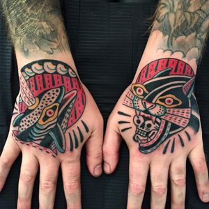 Tattoo by Almagro Tattooer #AlmagroTattooer #favoritetattoos #color #traditional #surreal #linework #jaguar #skull #death #whale #waves #pattern #dash #animals