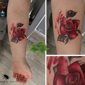 #rose #flower #watercolor #tattoo #rosetattoo #freehand #freakyskin #paoli