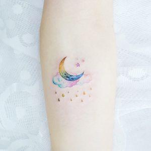 Tattoo by Banul #Banul #spacetattoos #watercolor #moon #stars #rain #raindrops #cloud #sky