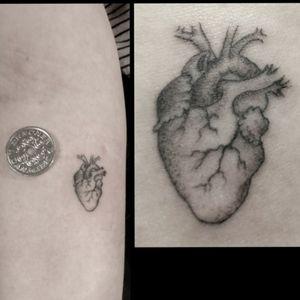 Tiny fineline anatomic heart tattoo realism