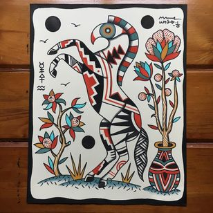 Painting by Henry Hablak #HenryHablak #folktraditional #color #painting #flash #tattooflash #horse #flowers #floral #leaves #nature #animal #symbols #sigil