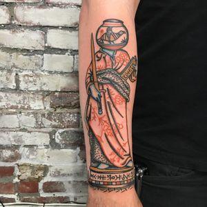 Tattoo by Henry Hablak #HenryHablak #folktraditional #color #illustrative #statue #person #symbols #sigil #flowers #floral #bird #sword #surreal