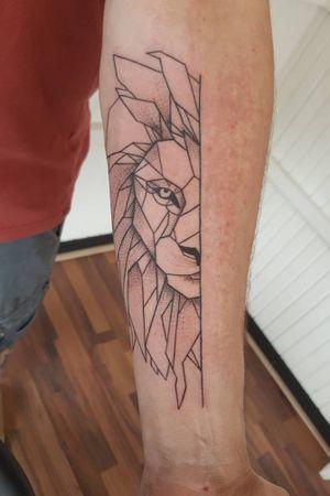 Geometric lion #tattoo #liontattoo #inked #geometric