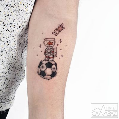 Tattoo by Ahmet Cambez #AhmetCambez #spacetattoos #newschool #color #illustrative #cat #kitty #fish #astronaut #soccerball #space #planet #stars