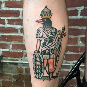Tattoo by Henry Hablak #HenryHablak #folktraditional #color #illustrative #knight #warrior #bird #soldier #sword #knife #armor #shielf #flower #pattern #surreal