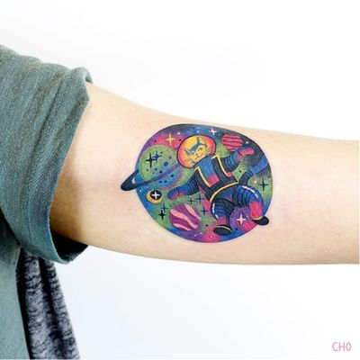 Tattoo by Cho #ChoTattooer #Cho #spacetattoos #color #newschool #astronaut #spaceman #cat #kitty #planets #saturn #galaxy #stars #space #cute #colorful #watercolor