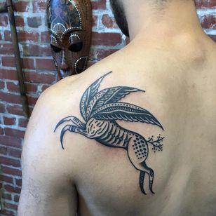 Tattoo by Henry Hablak #HenryHablak #folktraditional #color #illustrative #animal #mythicalcreature #pattern #wings #feathers #deer #surreal #strange