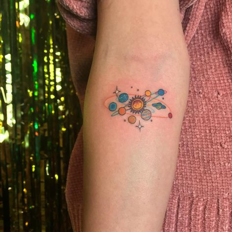 Tattoo by Mick Hee #MickHee #spacetattoos #sun #solarsystem #mars #saturn #neptune #earth #stars #galaxy #planets